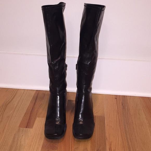 Nine West Black Leather Knee High Boots